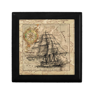 Antique Old General France Map & Ship Gift Box