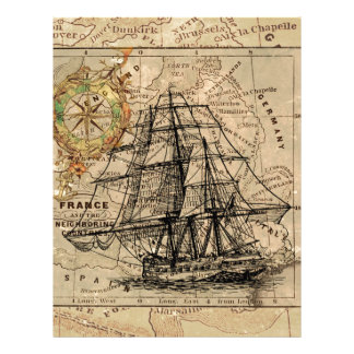 Antique Old General France Map & Ship Letterhead