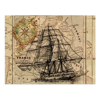 Antique Old General France Map & Ship Postcard