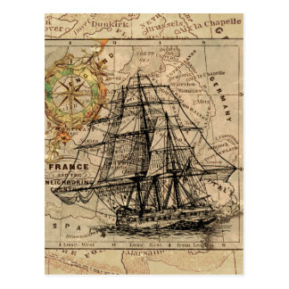 Antique Old General France Map & Ship Postcard