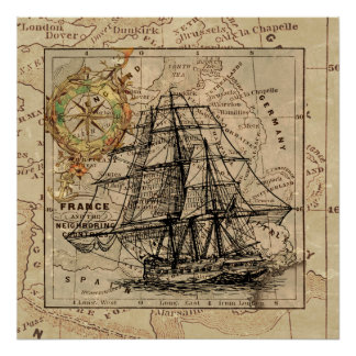 Antique Old General France Map & Ship Poster