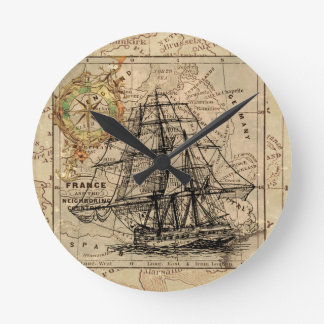 Antique Old General France Map & Ship Round Clock