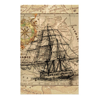 Antique Old General France Map & Ship Stationery