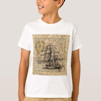 Antique Old General France Map & Ship T-Shirt