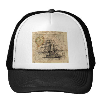 Antique Old General France Map & Ship Trucker Hat
