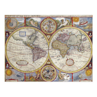 Antique Old General Map of the World Postcard