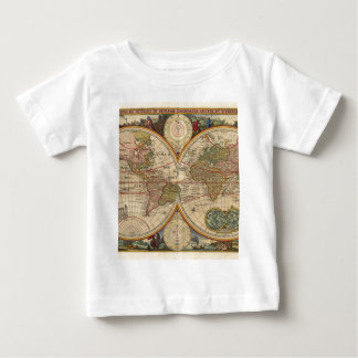 Antique old rare and historic world map baby T-Shirt
