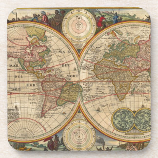 Antique old rare and historic world map drink coasters