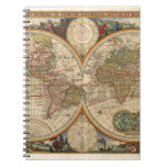 Antique old rare and historic world map spiral note book