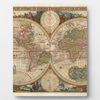 Antique old rare and historic world map display plaques