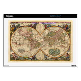 "Antique old rare and historic world map skins for 17"" laptops"