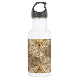 Antique old rare and historic world map stainless steel water bottle