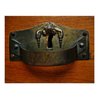 Antique Old Rusty Drawer Handle with a Keyhole Posters