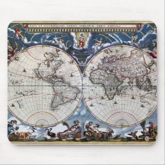 Antique old world map 1664 Restored Mouse Pad