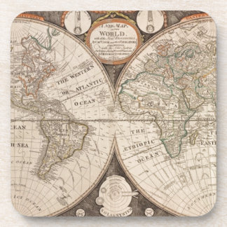 Antique Old World Map 1799 Beverage Coaster