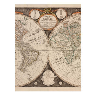 Antique Old World Map 1799 Postcard