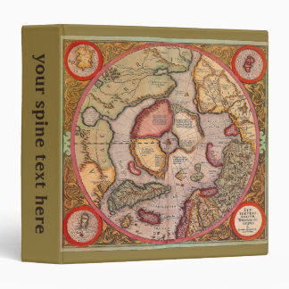 Antique Old World Map, Arctic North Pole, 1595 Binders