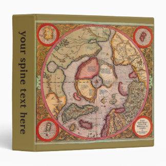 Antique Old World Map, Arctic North Pole, 1595 Binder