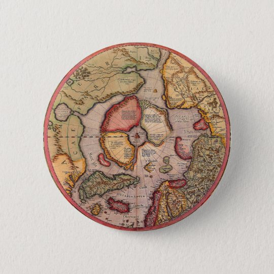 Antique Old World Map, Arctic North Pole, 1595 Button
