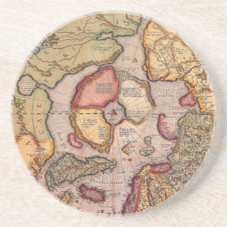 Antique Old World Map, Arctic North Pole, 1595 Drink Coaster