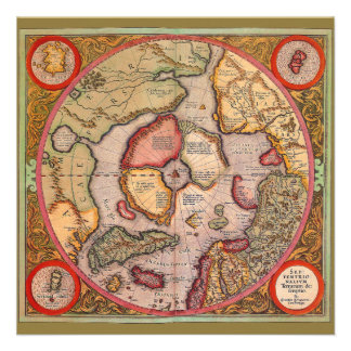 Antique Old World Map Arctic North Pole 1595 Custom Announcements