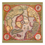 Antique Old World Map, Arctic North Pole, 1595 Custom Announcements