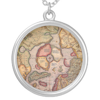 Antique Old World Map, Arctic North Pole, 1595 Round Pendant Necklace