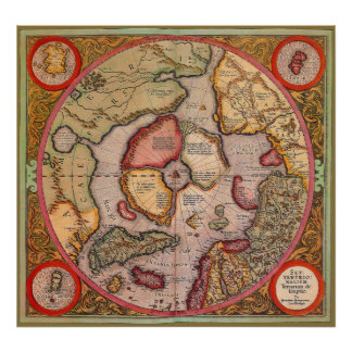 Antique Old World Map Arctic North Pole 1595 Poster