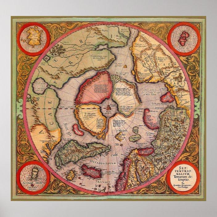 Antique Old World Map Arctic North Pole 1595 Poster Zazzle Com