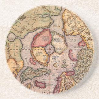 Antique Old World Map, Arctic North Pole, 1595 Sandstone Coaster