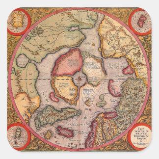 Antique Old World Map, Arctic North Pole, 1595 Square Sticker