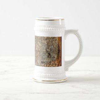 Antique Old World Map Drinking Stein