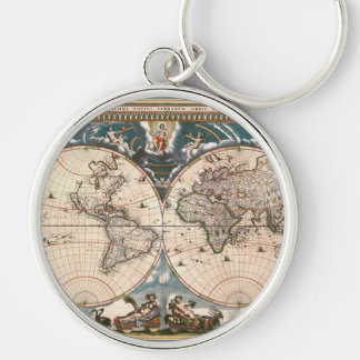 Antique Old World Map History Design Keychain