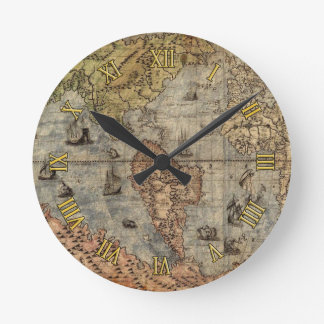 Antique Old World Map History Designer Clock