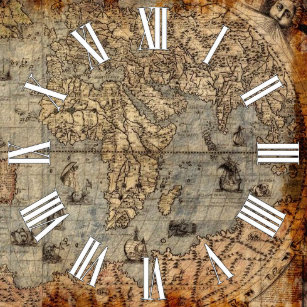 World map designs wall clocks zazzle antique old world map history designer clock gumiabroncs Gallery