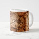Antique Old World Map Jumbo Soup Mug 20 Oz Large Ceramic Coffee Mug