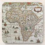 Antique Old World Map of Africa, c. 1635 Beverage Coaster