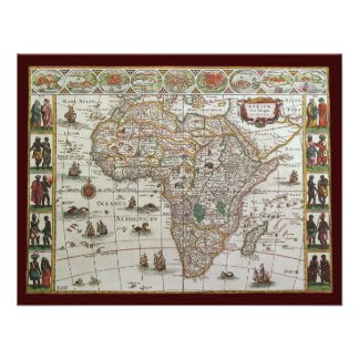 Antique Old World Map of Africa c 1635 Custom Announcements