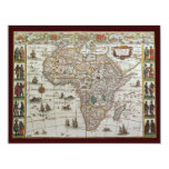 Antique Old World Map of Africa, c 1635 Invitation