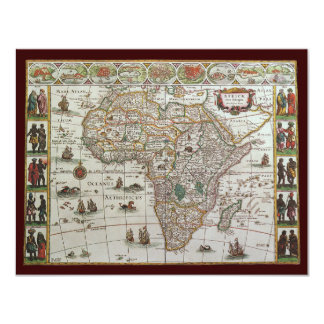 Antique Old World Map of Africa, c. 1635 4.25x5.5 Paper Invitation Card