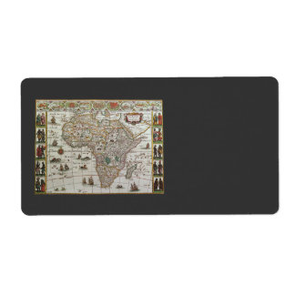 Antique Old World Map of Africa, c. 1635 Label
