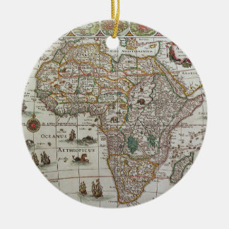 Antique Old World Map of Africa, c. 1635 Double-Sided Ceramic Round Christmas Ornament