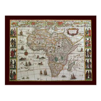 Antique Old World Map of Africa, c. 1635 Postcard