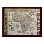 Antique Old World Map of Africa, c. 1635 Postcards