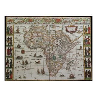 Antique Old World Map of Africa, c. 1635 Poster