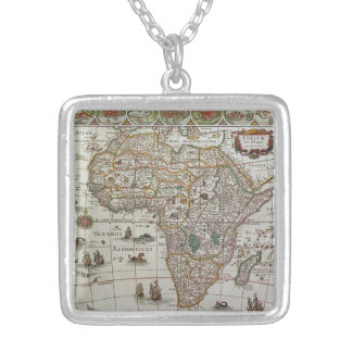 Antique Old World Map of Africa, c. 1635 Silver Plated Necklace