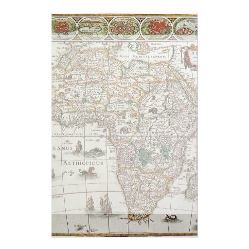 Antique Old World Map of Africa, c. 1635 Custom Stationery