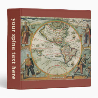 Antique Old World Map of the Americas, 1597 3 Ring Binder