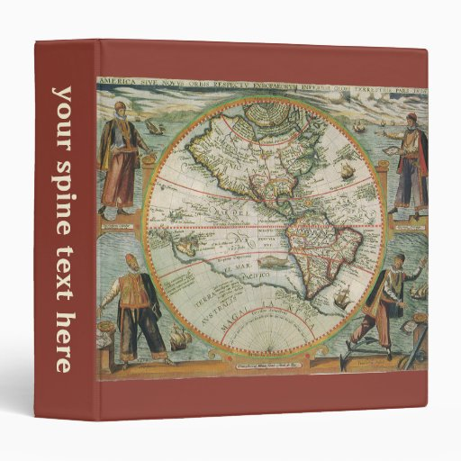 Antique Old World Map of the Americas, 1597 Vinyl Binder