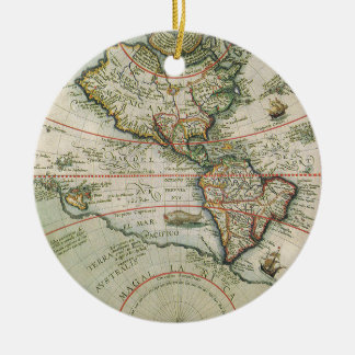 Antique Old World Map of the Americas, 1597 Ceramic Ornament